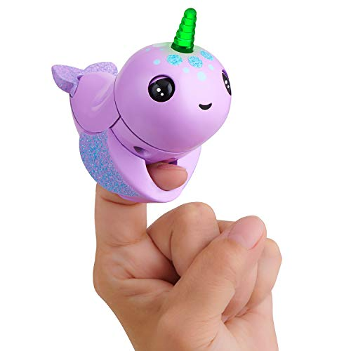 WowWee Fingerlings Light Up Narwhal - Nelly (Purple) - Friendly Interactive Toy