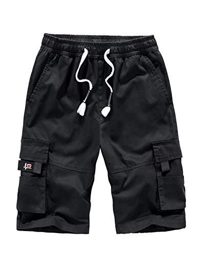 APTRO Herren Shorts Arbeitsshorts Baumwolle Cargo Shorts Outdoor Sommer Freizeit Kurze Hose Schwarz L