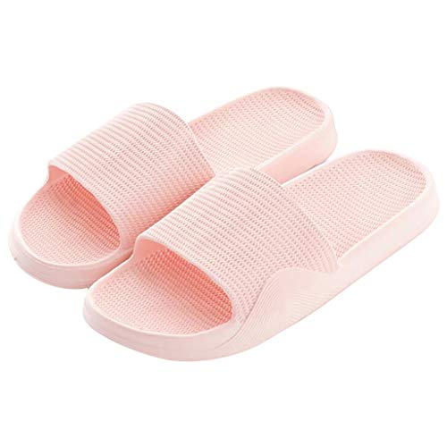 MIRRAY Home Flip Flop for Womens Men Plain Non Slip Large Size Shower Bathroom Slides Unisex Summer Flat Sandals Pink
