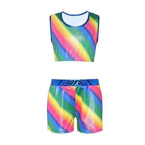 Homemust Girls Rainbow Stripes Trikot Tanztraining Gymnastik Einteiliger Body, Rainbow Top und Shorts Set für Mädchen 3-10 Jahre