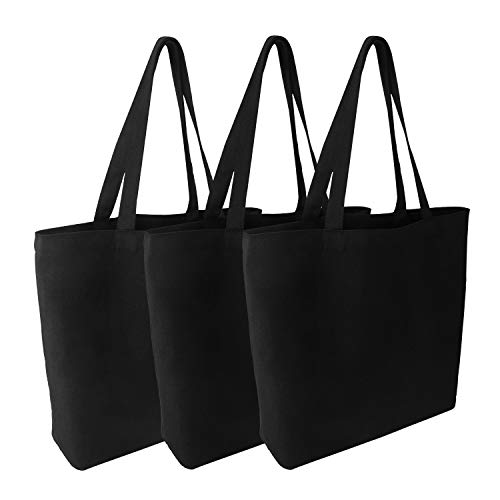 Blank Canvas Tote Bags, Segarty 3 Pack 16.5 x 13.4 Inches 12Oz Natural Cotton Reusable Grocery Shopping Bags Bulk, Plain Bag to Decorate Crafts DIY, Large Black Canvas Bag for Women Girls Beach Travel