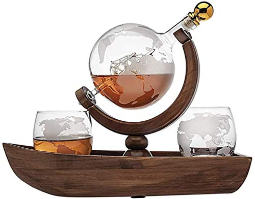 Jarra de whisky Conjunto de whisky, globo de la nave con 2 gafas de whisky mundial, hermosa botella de vino artesanal, barco de amistad para licor, escocés, bourbon, vodka, 850 ml Regalo de whisky par