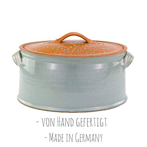 Palatina Werkstatt ® | von Hand gefertigter, glasierter Brottopf/Vorratstopf aus grauem Steingut (Brottopf groß)