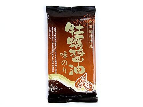 牡蠣醤油味のり(北海道厚岸産)カキの旨味成分を抽出したこだわりのかき醤油で味付け海苔本来の香りです。4切10枚(ミシン目による板のり2.5枚)