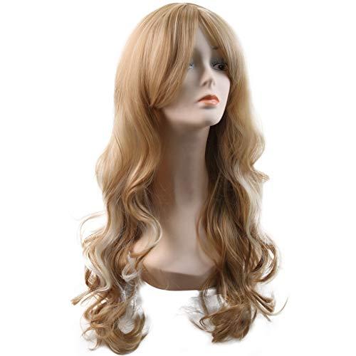 Perruque- Longue perruque Hiar Wave perruques synthétiques or avant pour les femmes résistant à la chaleur Halloween perruques Cosplay Party perruque fille