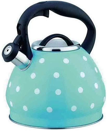 Bouilloire gaz en acier inoxydable Stovetop Whistling Kettle épaissie trois couches composite Bas Convient for tous les types de poêles Hob UOMUN (Color : Blue)