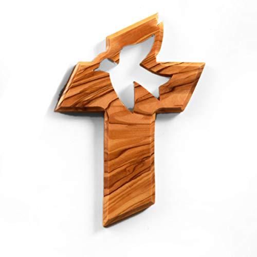 KASSIS Olivenholz Kreuz mit der Friedenstaube zum Aufhängen 13cm - handgemacht in Bethlehem