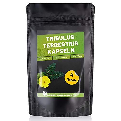 Fitness Vital Tribulus Terrestris Kapseln mit 95% Saponinen hochdosiert vegan | 240 Saponine Kapseln Tribulus-Terrestris | Östrogen Blocker für Männer Frauen | Testosteron Booster Muskelaufbau