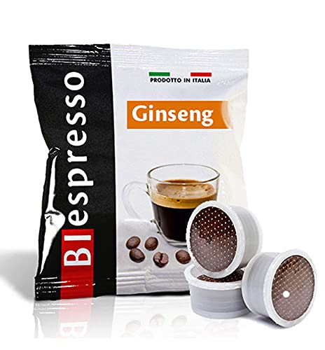 Biespresso Point caffè te tisane solubili capsule compatibili con Lavazza. Point Produzione propria made in Italy (50, GINSENG)