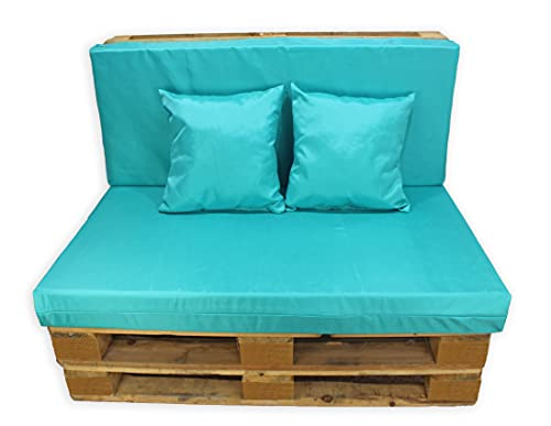 Conjunto 4 Piezas Impermeables Sofá de Palets, Asiento Palet 120x80 cm + Respaldo + Dos Cojines. Cómodo y Elegante para Interior y Exterior. (Azul, Funda con Relleno)