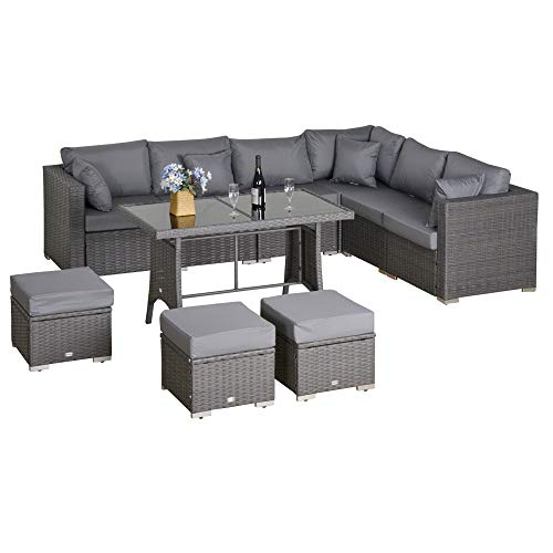 Outsunny Polyrattan Sitzgarnitur 10 TLG. Sitzgruppe Gartenset Sofagarnitur Gartenmöbel Set Lounge Stahl Luxus Dunkelgrau