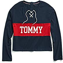 Tommy Hilfiger Women's Adaptive Icon Long Sleeve Crop Top T Shirt with Magnetic Buttons, black/red/multi, LG