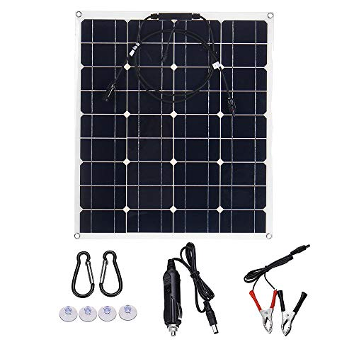 Panel solar 60W 18V USB de doble panel solar flexible kits cargador de batería con el regulador solar para caravanas, autocaravanas, autocaravanas, barc ( Color : Black , Size : 620x540x2.5MM )