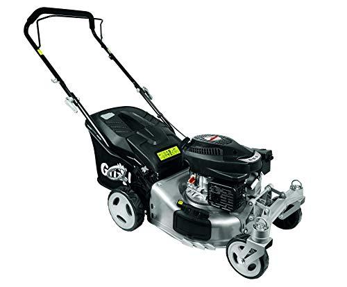 Grizzly Benzin Rasenmäher BRM42 Q 360, 2 bewegliche Vorderräder, besser als Trike, 42 cm Schnittbreite, Inkl. Abdeckhaube