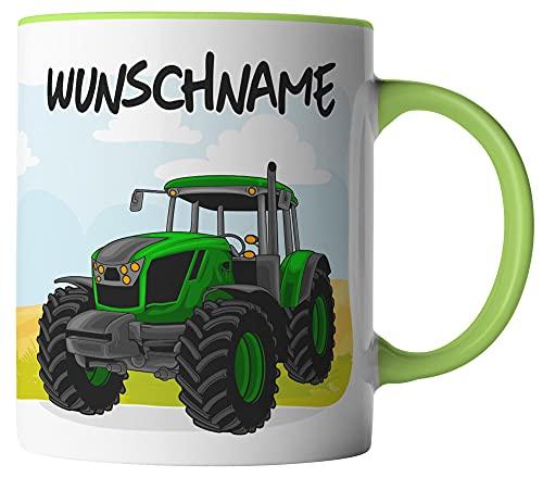 vanVerden Taza – Tractor en el campo – Nombre personalizable, color de la taza: blanco/verde