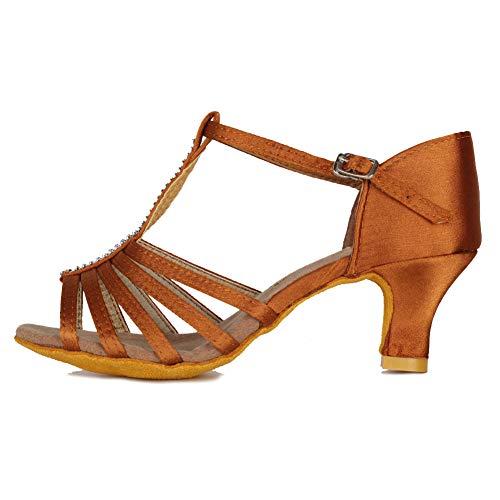 HIPPOSEUS Zapatos de Baile Latino para Mujer Salón de Baile Clásico Fiesta Práctica Sandalias de Rendimiento con Correa en T con tacón Medio de 5 cm,Marrón,35 EU