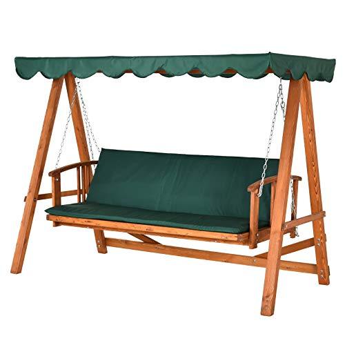 Outsunny® Hollywoodschaukel mit Sonnendach Echtholz-Gartenschaukel Schaukelbank Schaukel mit Liege-Funktion aus Lärchenholz für 3-4 Personen