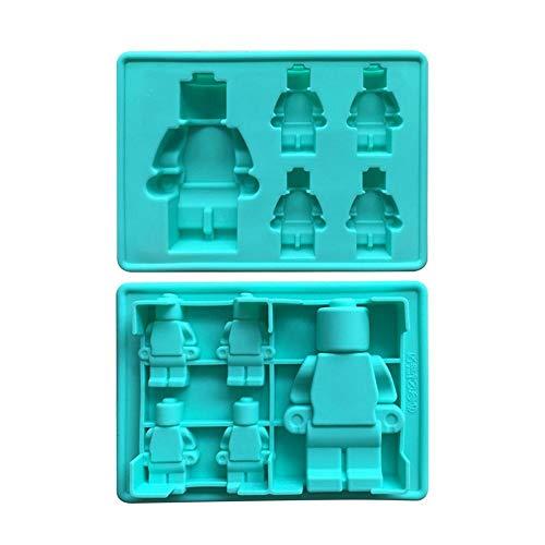 5 Tassen 3D Roboter Silikon Schokoladenform Eiswürfelschale Kuchen Gelee Silikon Aroma Gips Form für Lego, 5PCS
