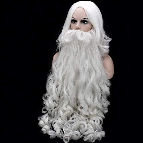Peluca de Cosplay de Navidad Barba Peluca de Cosplay de Papá Noel Pelucas de pelo sintético largo rizado blanco para adultos + gorro de peluca