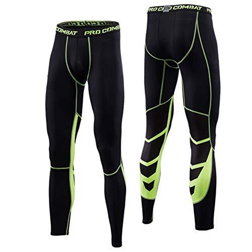 Alimagic Pantalones de compresión, Pantalones Largos de Correr, Mallas con de Compresión para Hombres para Running y Entrenamiento Tener Efecto de compresión y función de Secado rápido(Verde Malla L)