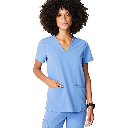 FIGS Casma Three-Pocket Scrub Top for Women – Ceil Blue, XS