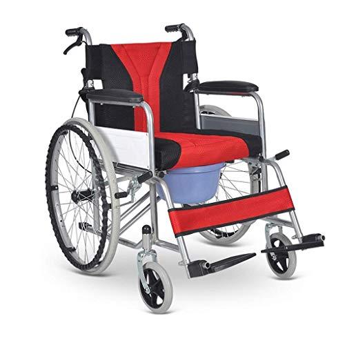 BBG Silla De Ruedas, Portable Trolley Hand Brake Scooter Multifunction Folding with Bathroom Simple for The Elderly Wheelchair Tray/B