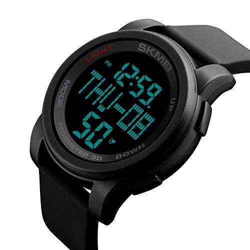 YK WATCH Orologio con contachilometri 3D Orologio da Uomo Sportivo con cronometro a cronometro Multifunzione da Uomo,Black
