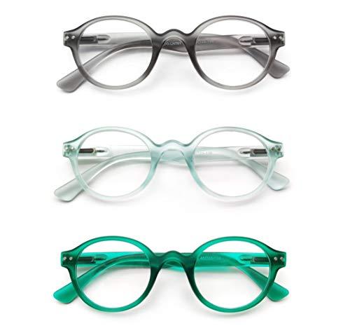 PANTONA-Pack3 Gafas de lectura Gafas Presbicia Gafas Vista Cansada ultra Redondo, deliciosamente Retro y Moderno para Hombre y Mujer.Modelo Mixto y Universal.(Negro Azul Celeste Verde+2,50)