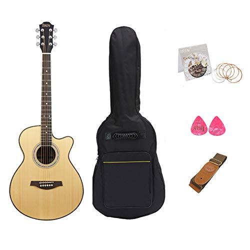 BLKykll Akoestische gitaar, Kit W/Foam gewatteerde Gig Bag, Gitaarband, Extra snaren, Natuurlijke 40 in volledige grootte Hout Akoestische gitaar Starter