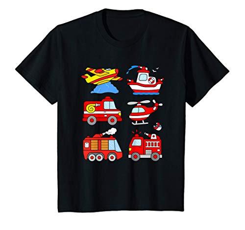 Niños Camión de Bomberos Coche Bombero Barco Avion Helicóptero Camiseta