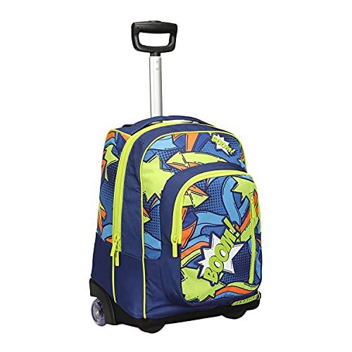 Trolley zaino scuola bambino Comics blu e verde, con i suoi colori allegri e la patch in gomma. 36L, barra regolabile in due altezze. Perfetto per scuola e viaggio.