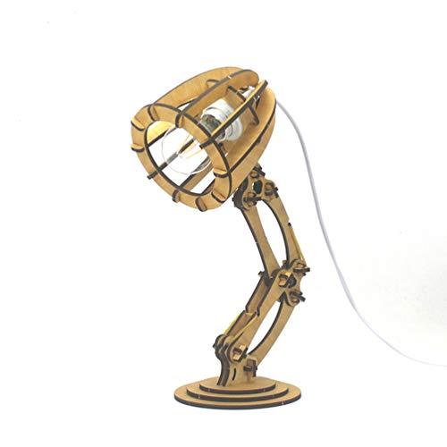 Holz Swing Arm Tischlampe, E27 LED-Augenpflegende Nachtleseschreibtischlampen, Diy Puzzle-Kits for Erwachsene Kinder Spielzeug, einzigartige kreative Novel Geburtstags-Geschenk ( Color : Yellow )
