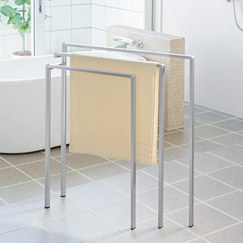 インテリア雑貨 日用品 バス用品 トイレ用品 タオルハンガー タオル掛け 置き方自由! 物干しにもなる アルミ製タオルハンガー 3連 544102(サイズはありません ア:シルバー)