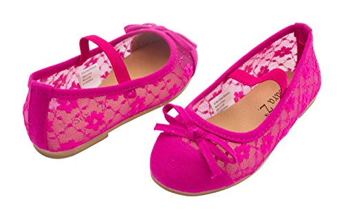Sara Z Toddler Girls Ballet Flat Slip On with Elastic Arch Strap and Bow Metallic or Patent See More Sizes and Colors
