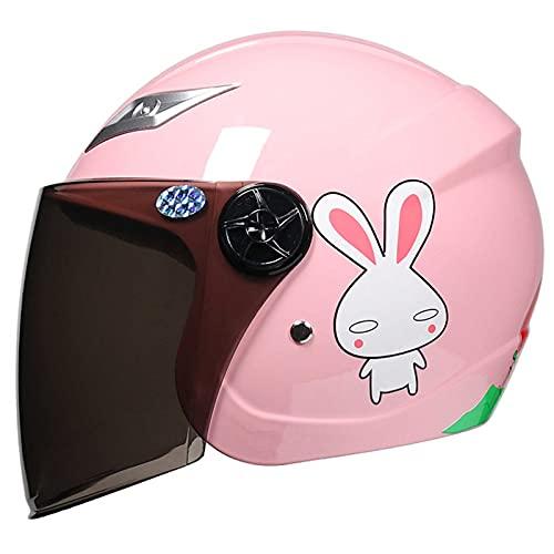 HVW Casco de Motocicleta para niños, Motocross de Dibujos Animados Medio Casco cómodo Transpirable Motocicleta eléctrica Casco de Scooter de ciclomotor para niños niños niñas de 3 a 9 años,Rosado