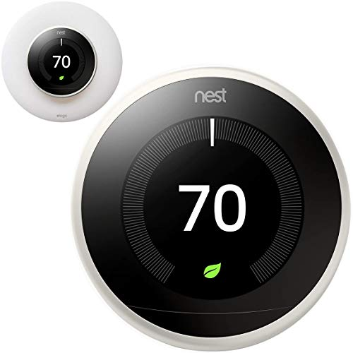 Google Nest Learning Smart Thermostat - 3rd Generation - White T3017US Bundle with elago Wall Plate Upgraded Wall Mount Cover Designed for Google Nest Learning Thermostat - Matte White
