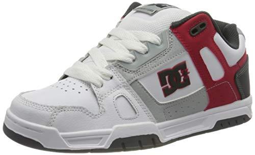 DC Shoes Stag, Scarpe da Ginnastica Uomo, White/Grey/Red, 40 EU
