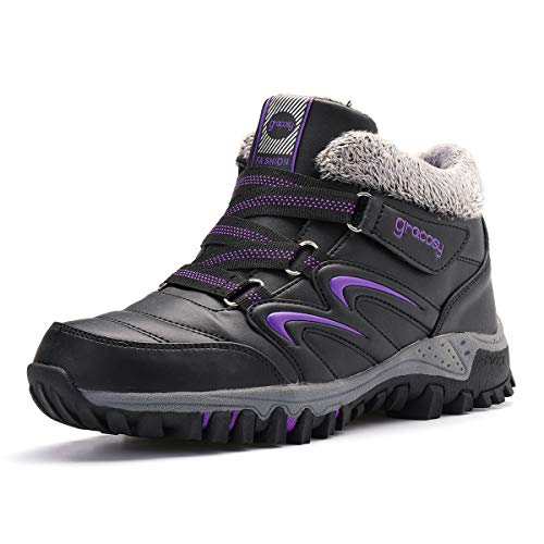gracosy Waterproof Hiking Boots Snow Boots Sporting Shoes Winter Sneakers Fashion Boots Warm Shoes Running Shoes Outdoor Casual Ankle Shoes Fur Lined Bootie Dark Purple 7.5