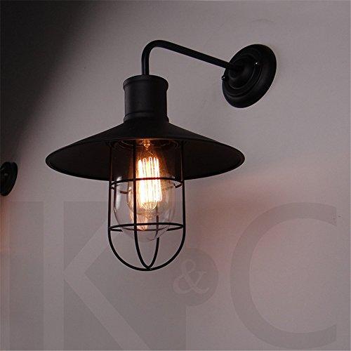 DengWu wandverlichting ijzer jeugdstijl LOFT glas wandlampen Amerikaanse bar winkels industriële lucht tweepersoonsbed slaapkamer (270 * 300 mm)