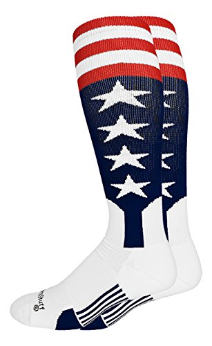MadSportsStuff USA Flag Baseball Stirrup Socks (Navy/Red/White, Medium)
