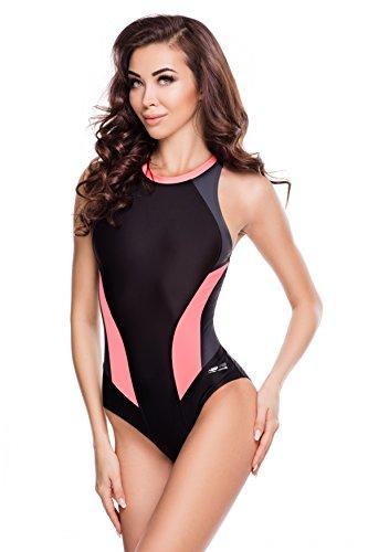 Aqua Speed® NINA Badeanzug | Damen | Einteiler | 36-44 | Leicht | Elastisch | Dehnbar | UV-Schutz | Chlorbeständig, Größe:42, Farbe:Farbe 133 Black/Grey/Coral