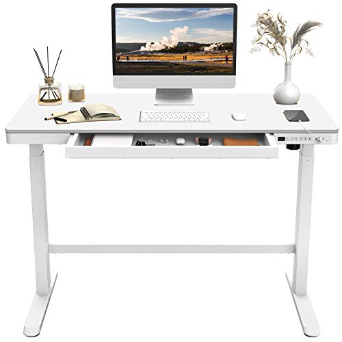 Flexispot EW8 Electric Standing Desk with Drawers Height Adjustable 48 x 24 Inches White Desktop and Frame Quick Install Home Office Table w/USB Charging Ports, Storage Desk Organizer