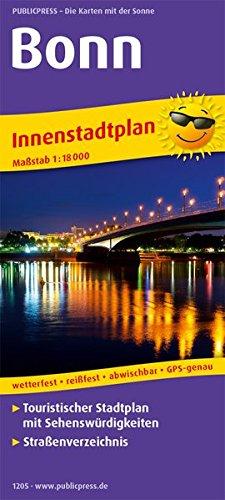 Bonn: Touristischer Innenstadtplan mit Sehenswürdigkeiten und Straßenverzeichnis. 1 : 18 000 (Stadtplan: SP)