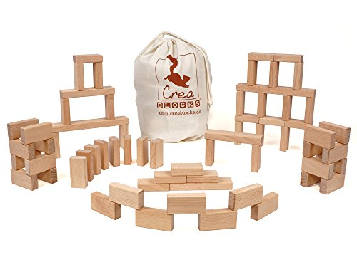CreaBLOCKS Holzbausteine Kleines Grundpaket (66 unbehandelte Bauklötze) (im Baumwollbeutel) Made in Germany
