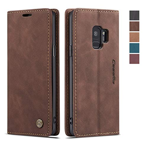 Samsung Galaxy S9 Case,Samsung Galaxy S9 Wallet Case Cover, Magnetic Stand Flip Protective Case Retro Leather Flip Case Book Style with ID & Credit Card Slots Holder Case for Samsung Galaxy S9(Coffee)