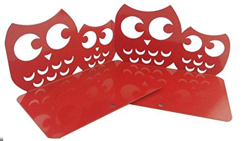 Dos sujetalibros antideslizantes con diseño de búhos. Sujetalibros metálicos decorativos infantiles con búhos, color rosso