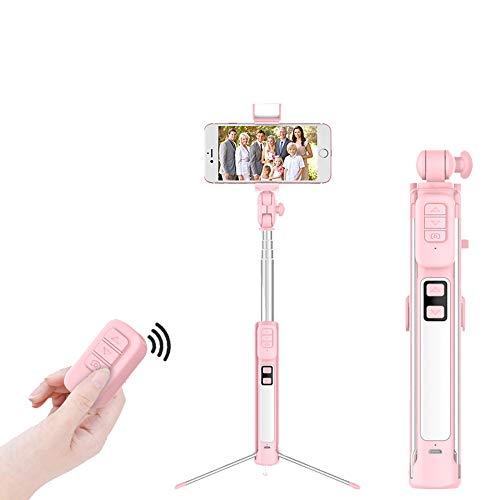 MHCYKJ Bluetooth Stand Selfie Stick Mini treppiede Selfiestick con Wireless Remote Shutter iPhone per Huawei Android per Xiaomi Stick,Rosa,160CM