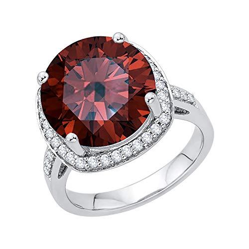 KATARINA Anillo de compromiso con halo de diamantes y granate en oro de 14 k (5 3/4 cttw, G-H, I2-I3)