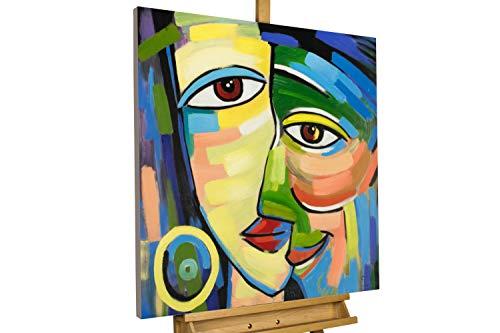 KunstLoft® Acryl Gemälde \'Eins mit dir\' 80x80cm | original handgemalte Leinwand Bilder XXL | Abstrakt Gesicht Blau Bunt | Wandbild Acrylbild Moderne Kunst einteilig mit Rahmen