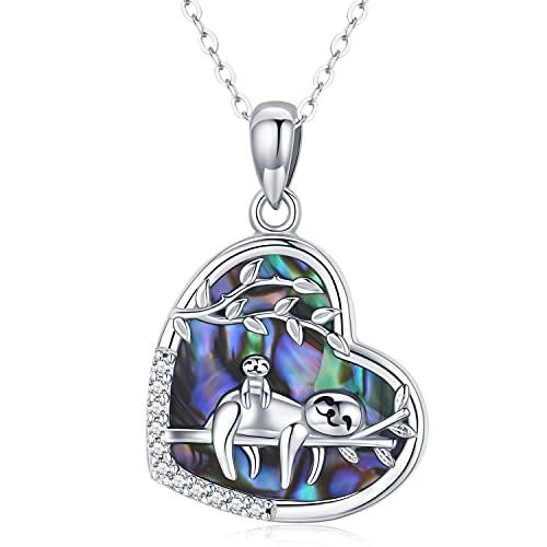 Collar perezoso, collar con colgante de animal de plata de ley 925 para mujer, regalos para mamá de mujer